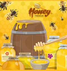 Honey bees and honeycombs beekeeping production vector