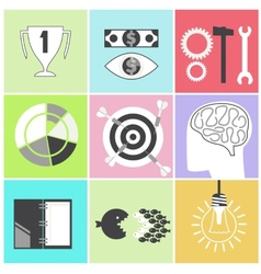 Icon set brain light bulb darts target fish eye vector image