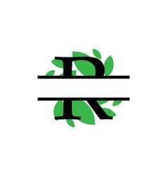 Initial r green leaf monogram split letter vector