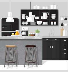 Interior dinner room design vector