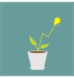 Lamp light bulb plant in pot growing idea vector