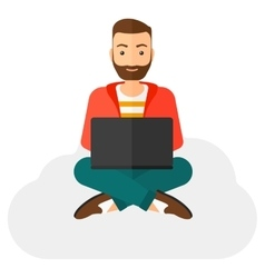 Man sitting with laptop vector