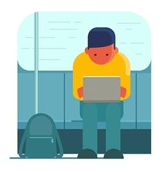 Man working on laptop in public transport vector