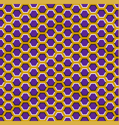 Optical seamless pattern purple hexagons vector