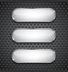 Oval glass buttons on metal perforated background vector