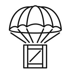 parachute delivery box icon outline style vector image