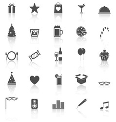 Party icons with reflect on white background vector