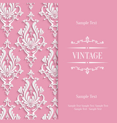 Pink 3d Vintage Invitation Card Template vector