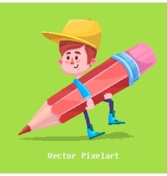 Pixel Funny Boy Isolated on yellow background vector