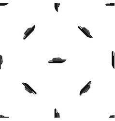 Planing powerboat pattern seamless black vector