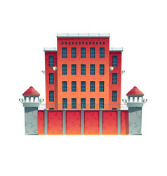 prison building with observation towers vector image