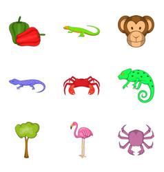 Rare animal icons set cartoon style vector