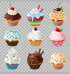 realistic cupcakes sweet homemade dessert vector image