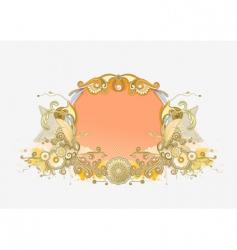 retro floral frame vector image vector image