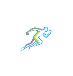 running abstract man colorful lines logo vector image