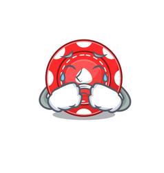 Sad gambling chips cartoon mascot style vector