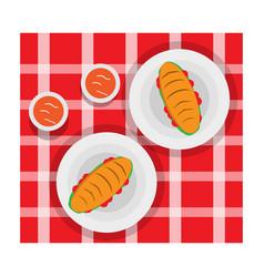 sandwinch and sauce vector image