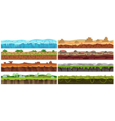 Seamless cartoon landscape design set vector