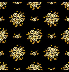seamless gold flowers wallpaper vector image