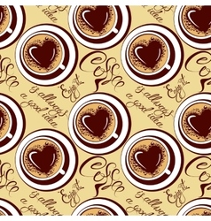Seamless pattern with coffee cups calligraphic vector