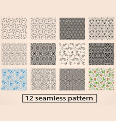 set of seamless decorative pattern stock vector image
