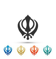 Sikhism religion khanda symbol khanda sikh symbol vector