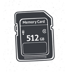 silhouette compact memory card vector image