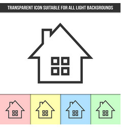 simple outline transparent house icon on vector image