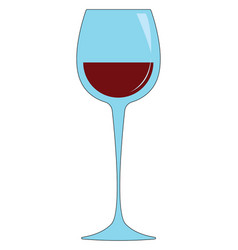 simple vetor of a wine glass with red wine white vector image