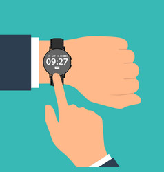 smart watch on the hand of businessman in suit vector image