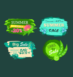 summer sale -20 off discount -45 big offer set vector image