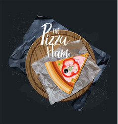 The pizza ham slice without background vector