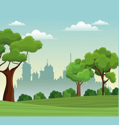 Tree landscape park nature city background vector
