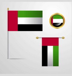 uae waving flag design with badge vector image