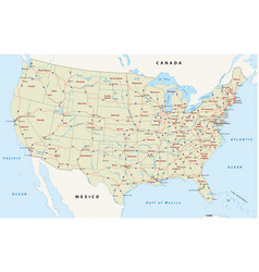 Us interstate highway map vector