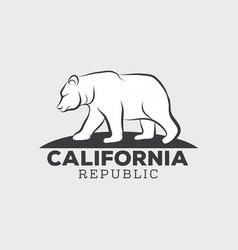 Vintage california republic bear with sunbursts vector