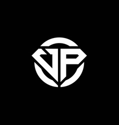 Vp monogram logo with diamond shape and ring vector