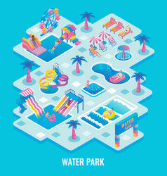 Water park concept flat isometric vector
