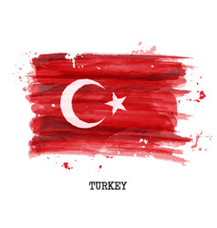 Watercolor painting flag turkey vector