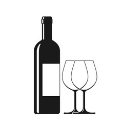 wine and two glass vector image