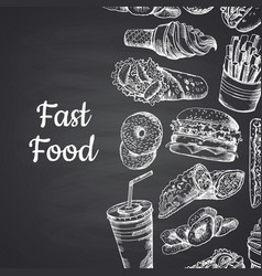 with white fast food hand vector image