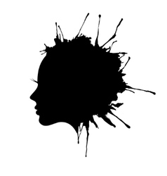 woman face profile ink blot vector image