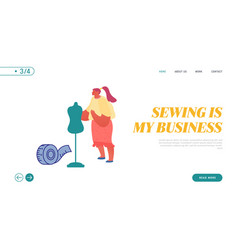 woman tailor master sewing clothes website landing vector image