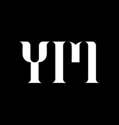 ym y m letter logo design initial letter ym vector image