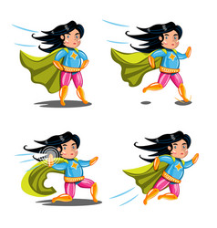 female superhero action poses collection vector image vector image