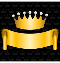 golden ribbon and crown vector image