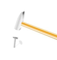 Nail and hammer vector image