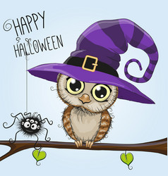 cute cartoon owl in a witch hat vector image vector image