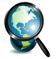 Globe under magnifying glass vector image vector image