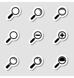 Magnifier Glass Icons as Labes vector image vector image